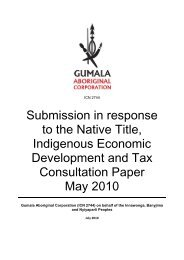 Submission in response to the Native Title, Indigenous ... - Gumala