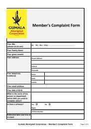 Member's Complaint Form - Gumala Aboriginal Corporation