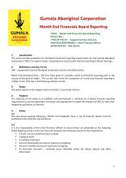 Gumala Aboriginal Corporation Month End Financials Board ...