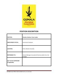 POSITION DESCRIPTION - Gumala