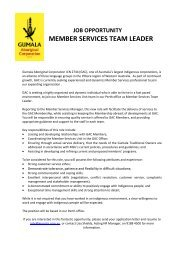 job opportunity member services team leader - Gumala