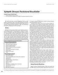 Epileptik Olmayan Paroksismal Bozukluklar - Güncel Pediatri Dergisi