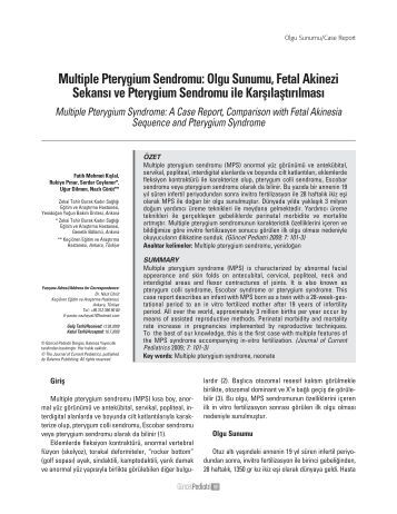 Multiple Pterygium Sendromu - Güncel Pediatri Dergisi