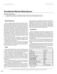 Çocuklarda Mental Retardasyon - Güncel Pediatri Dergisi