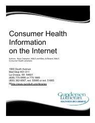 Consumer Health Information - Gundersen Health System