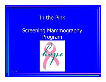 In the Pink Screening Mammography Program