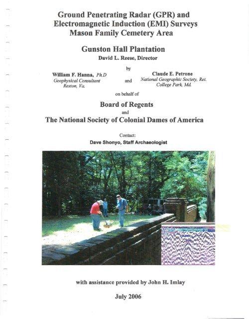 Report on Ground Penetrating Radar Survey of     - Gunston Hall