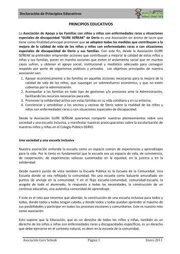 PRINCIPIOS EDUCATIVOS - Gure Señeak