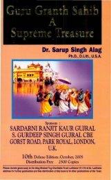 Dr. Sarup Singh Alag SARDARNI RANJIT KAUR ... - Gurmat Veechar