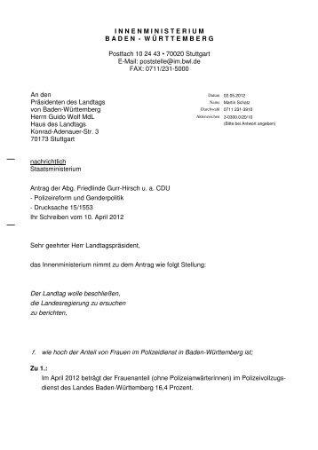 Antrag: Polizeireform und Genderpolitik - Gurr-Hirsch, Friedlinde