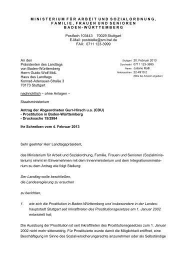 Antrag: Prostitution in Baden-Württemberg - Gurr-Hirsch, Friedlinde