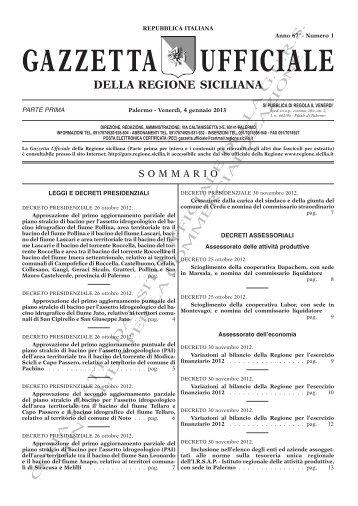N. 01-Venerdì 04 Gennaio 2013 (PDF) - Gazzetta Ufficiale della ...