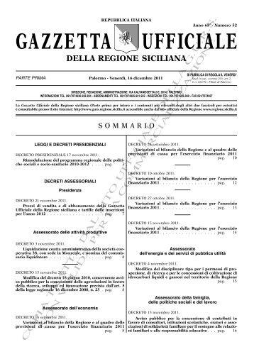 N. 52-Venerdì 16 Dicembre 2011 (PDF) - Gazzetta Ufficiale della ...