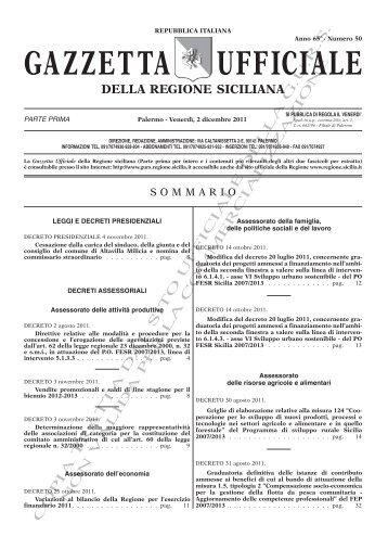 N. 50-Venerdì 02 Dicembre 2011 (PDF) - Gazzetta Ufficiale della ...