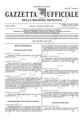 N. 09-Venerdì 22 Febbraio 2013 (PDF) - Gazzetta Ufficiale della ...