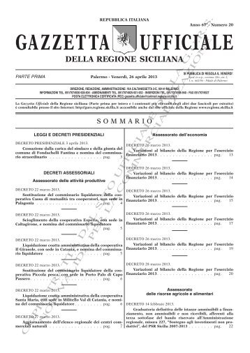 N. 20-Venerdì 26 Aprile 2013 (PDF) - Gazzetta Ufficiale della ...