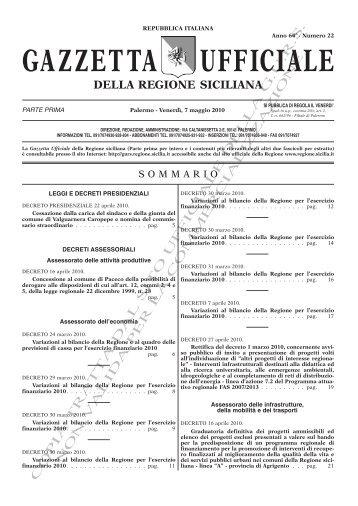 N. 22-Venerdì 07 Maggio 2010 (PDF) - Gazzetta Ufficiale della ...