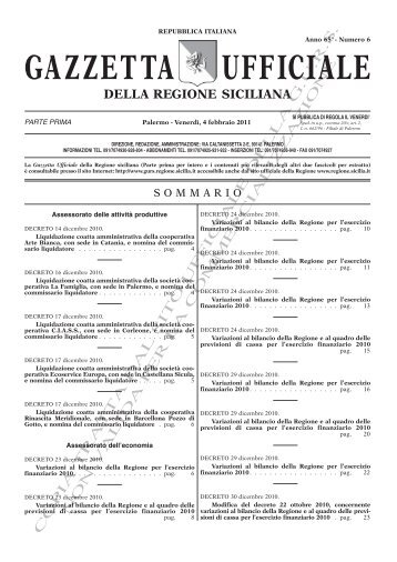 N. 06-Venerdì 04 Febbraio 2011 (PDF) - Gazzetta Ufficiale della ...