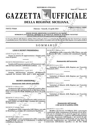 N. 18-Venerdì 12 Aprile 2013 (PDF) - Gazzetta Ufficiale della ...