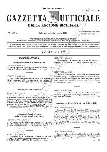N. 26-Venerdì 04 Giugno 2010 (PDF) - Gazzetta Ufficiale della ...
