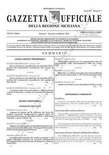 N. 07-Venerdì 08 Febbraio 2013 (PDF) - Gazzetta Ufficiale della ...