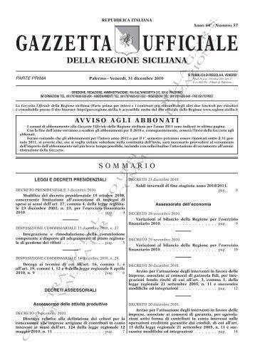 N. 57-Venerdì 31 Dicembre 2010 (PDF) - Gazzetta Ufficiale della ...