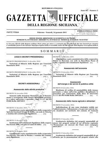 N. 03-Venerdì 14 Gennaio 2011 (PDF) - Gazzetta Ufficiale della ...