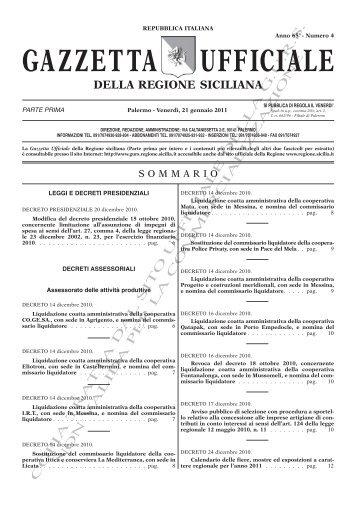 N. 04-Venerdì 21 Gennaio 2011 (PDF) - Gazzetta Ufficiale della ...