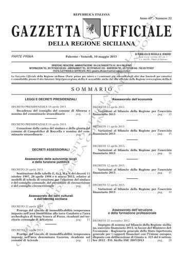 N. 22-Venerdì 10 Maggio 2013 - Gazzetta Ufficiale della Regione ...