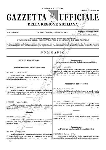 N. 46-Venerdì 04 Novembre 2011 (PDF) - Gazzetta Ufficiale della ...