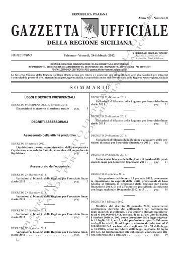 N. 08-Venerdì 24 Febbraio 2012 (PDF) - Gazzetta Ufficiale della ...