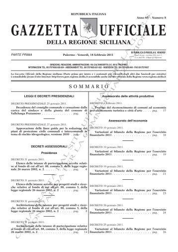 N. 08-Venerdì 18 Febbraio 2011(PDF) - Gazzetta Ufficiale della ...