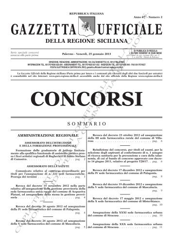 Serie Concorsi(PDF) - Gazzetta Ufficiale della Regione Siciliana