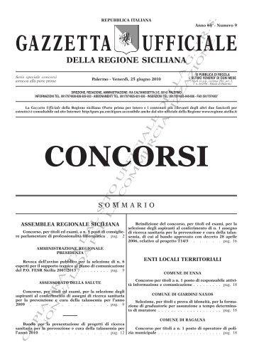 Serie Concorsi - Gazzetta Ufficiale della Regione Siciliana