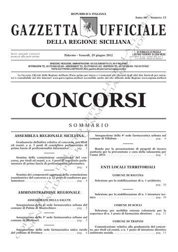N. 13-Venerdì 29 Giugno 2012- Serie Concorsi(PDF) - Gazzetta ...