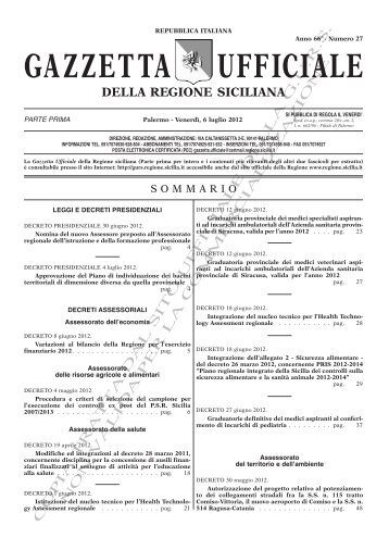 N. 27-Venerdì 06 Luglio 2012 (PDF) - Gazzetta Ufficiale della ...