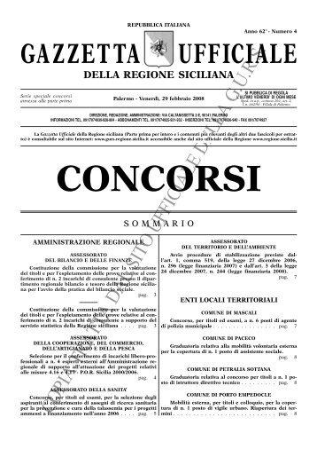 N. 4-Venerdì 29 febbraio 2008- Serie Concorsi - Gazzetta Ufficiale ...