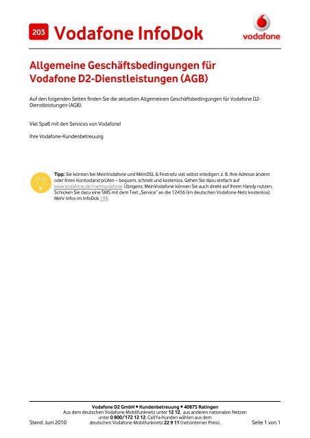 Infodok 203 Allgemeine Geschäftsbedingungen Für Vodafone D2