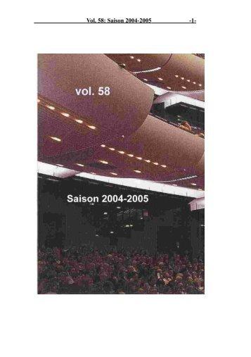 Vol. 58: Saison 2004-2005 - 1 -