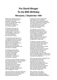For David Shugar To his 80th Birthday Warszawa, 3 September 1995