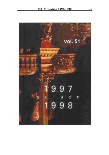 Vol. 51: Saison 1997-1998 - 1 -