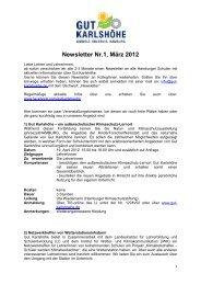 Bildungs-Newsletter Nr. 1 / März 2012 - Gut Karlshöhe