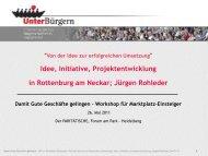 Präsentation Rohleder Workshop Heidelberg 2011 - Gute Geschäfte