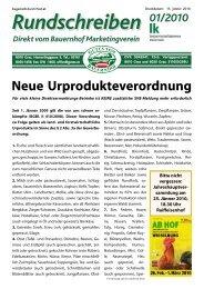 Rundschreiben 01/2010 - Gutes vom Bauernhof