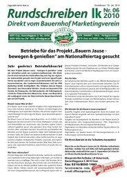 Rundschreiben 2010-06 - Gutes vom Bauernhof