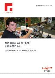 Flyer für Elektroniker für Betriebstechnik - Gutmann AG