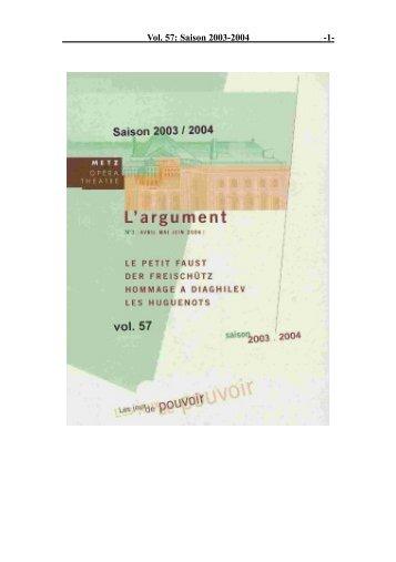 Vol. 57: Saison 2003-2004 - 1 -