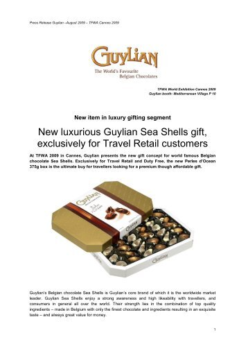 New luxurious Guylian Sea Shells gift, exclusively for Travel Retail ...