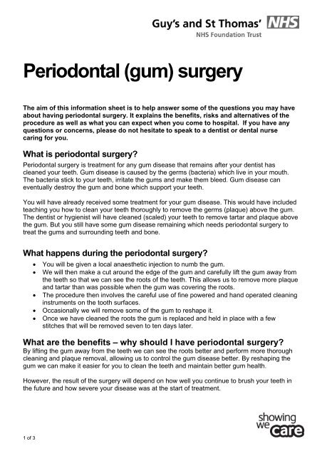 Periodontal (gum) surgery - Guy's and St Thomas'