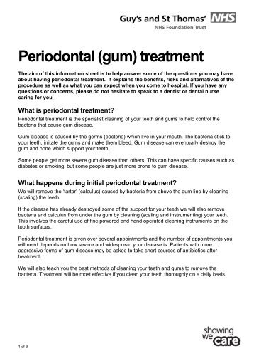 Periodontal (gum) treatment - Guy's and St Thomas'